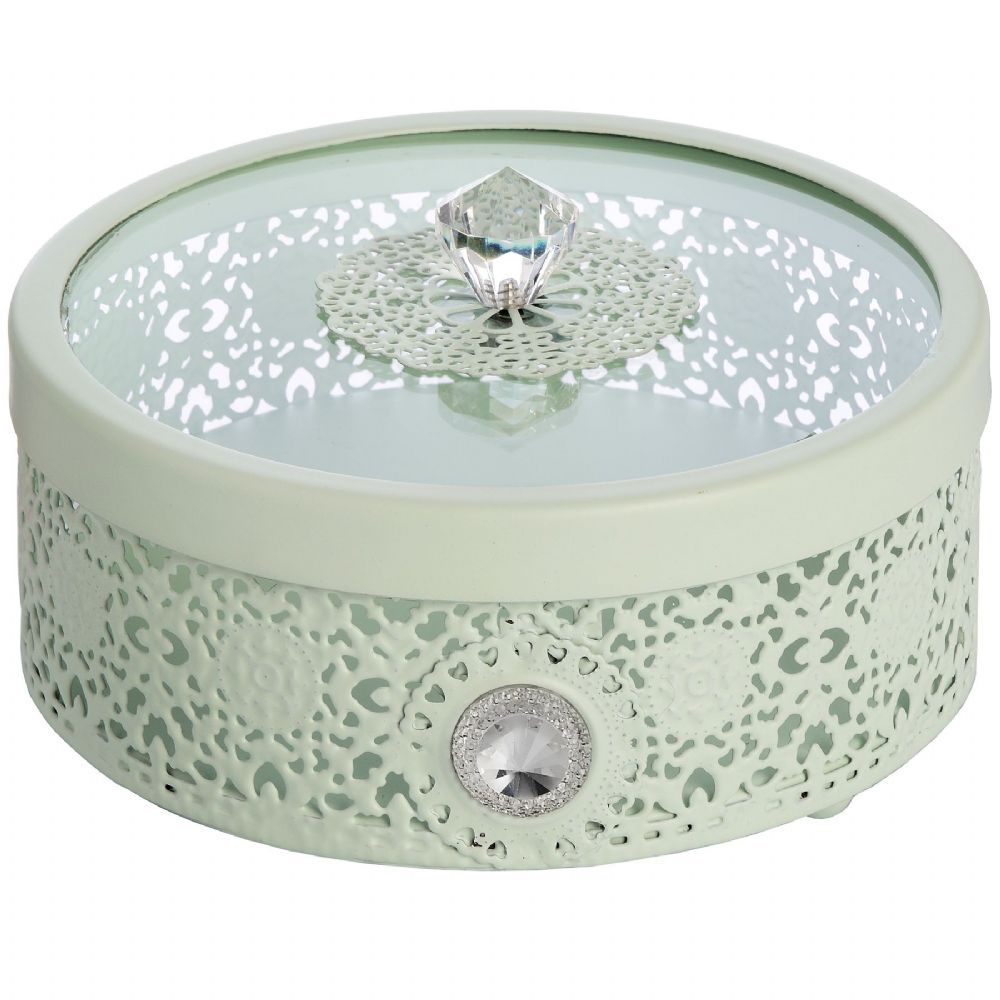 Mint Green Metal Lace Storage Box - Vintage Style Round Metal Dressing Table Storage Box